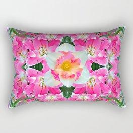 PINK & WHITE SPRING FLOWER GARDEN Rectangular Pillow