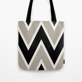 Modern Minimalist Chevron Stripe Geometric Pattern in Black and Taupe Gray Tote Bag