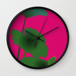 Lotus Leaves with Frog Wall Clock