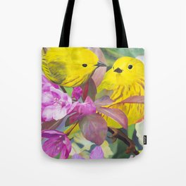2 warblers on a flowering branch Tote Bag