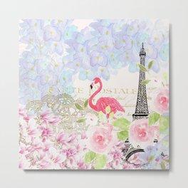 Elegant vintage french Eiffel Tower watercolor flamingo floral Metal Print
