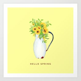 Hello Spring III (Sunflowers in Vintage Vase) Art Print