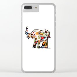 Elephant in stamps Clear iPhone Case