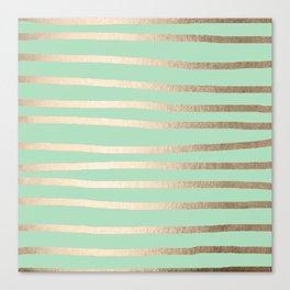 Stripes Metallic Gold Mint Green Canvas Print