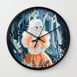 Little princess in the woods Wall Clock