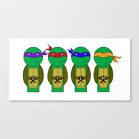 teenage mutant ninja turtles Canvas Prints featuring Teenage Mutant Ninja Turtles by Jen Talley
