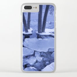 Ice Floes Crash And Creep At Edge Of The Otonabee River. Clear iPhone Case