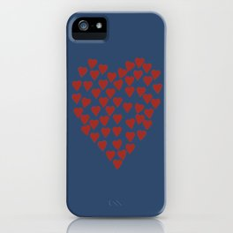 Hearts Heart Red on Navy iPhone Case