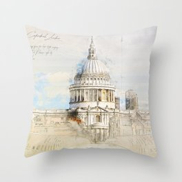 St. Pauls Cathedral,  London England Throw Pillow