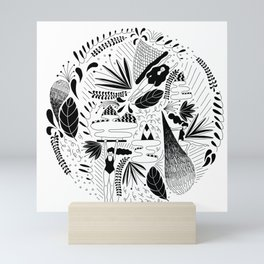 girls floating with plants Mini Art Print