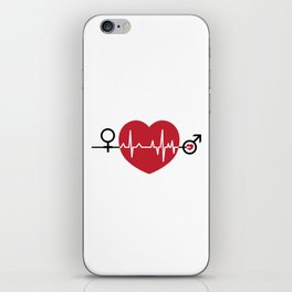 Love hearts EKG iPhone Skin