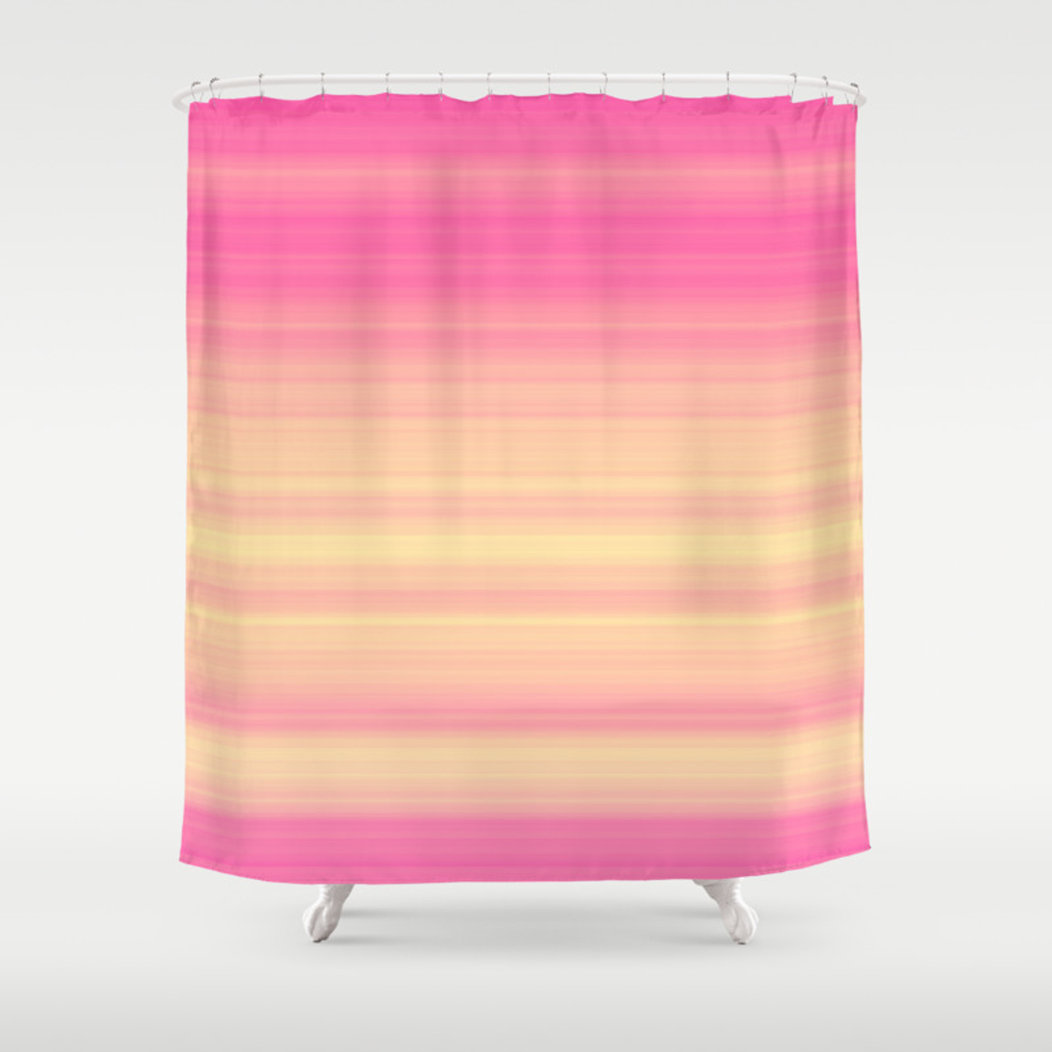 Pink Yellow Gradient Stripes Shower Curtain