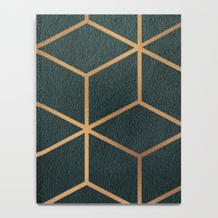 Dark Teal and Gold - Geometric Textured Gradient Cube Design Notebook