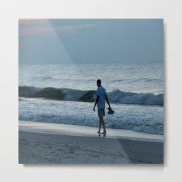 Man Walking on Beach Metal Print