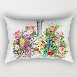 Flowers Lungs Skeleton Watercolor Rectangular Pillow