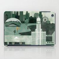 travel poster iPad Cases featuring Chicago Travel Poster Illustration by ClaireIllustrations