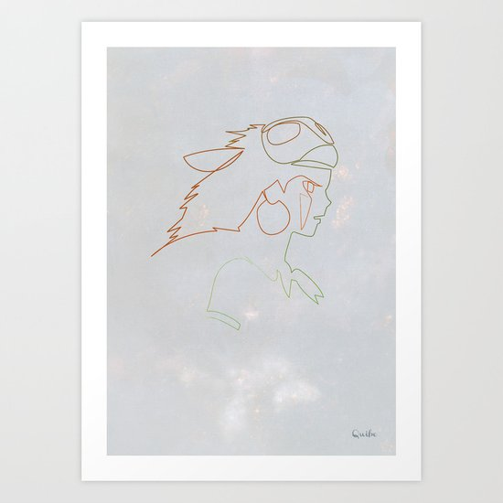 One line Mononoke Art Print
