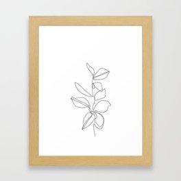 One line minimal plant leaves drawing - Birdie Framed Art Print