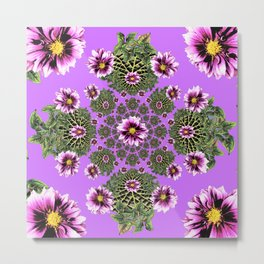 Lilac Purple Abstract Dahlias Garden Art Metal Print
