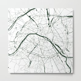 Paris France Minimal Street Map - Forest Green and White Metal Print
