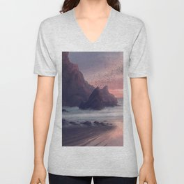 Awesome Beach In Tight Bay Ultra HD Unisex V-Neck