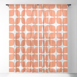 Mid Century Modern Star Pattern Orange 2 Sheer Curtain