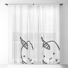 BIG BUDDY NARWHAL Sheer Curtain