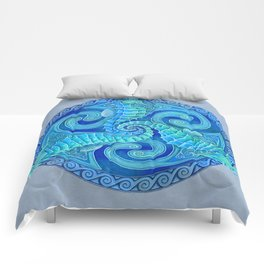 Seahorse Triskele Celtic Blue Spirals Mandala Comforters