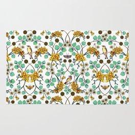 Warblers & Moths - Yellow & Teal Spring Floral/Bird Pattern Rug