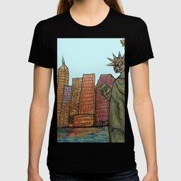 Lady Liberty Rising Urban Landscape NYC Skyline T-shirt