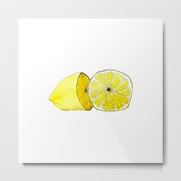 Lemon Lust on White Metal Print