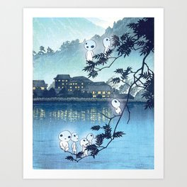 Kodama, Forest spirits vintage japanese woodblock mashup Art Print