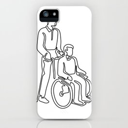 Patient on Wheelchair Continuous Line iPhone Case