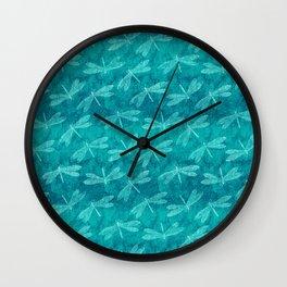 Dragonfly Dance Blue Green Wall Clock