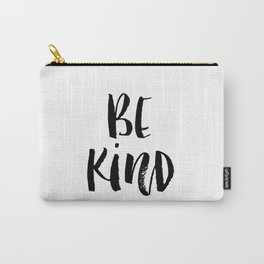 Be Kind watercolor modern black and white minimalist typography home room wall decor Carry-All Pouch
