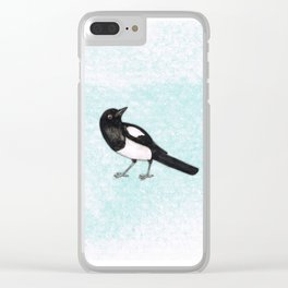 Magpie ink drawing Clear iPhone Case