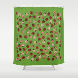 All over Modern Ladybug on Green Background Shower Curtain