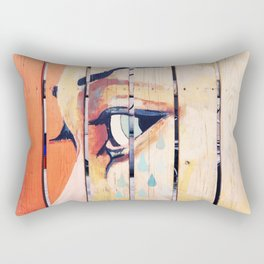 Figure crying girl on the fence Rectangular Pillow