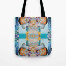 he wore mesh and she, puffy sleeves - a modern collage in blue and orange Tote Bag