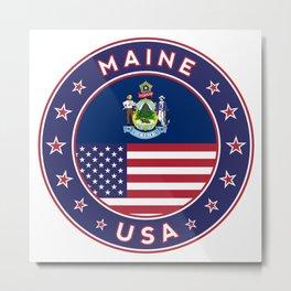 Maine, Maine t-shirt, Maine sticker, circle, Maine flag, white bg Metal Print