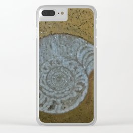 Ammonite in fossilized river bed Clear iPhone Case