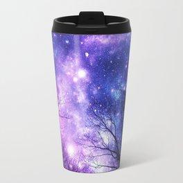 Black Trees Purple Blue Space Travel Mug