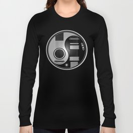 Guitar Yin Yang Gray and Black Long Sleeve T-shirt
