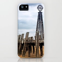 abandoned landing stage at saint annes pier in the ribble estuary lancashire iPhone Case