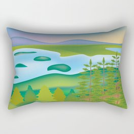 Acadia National Park, Maine - Skyline Illustration by Loose Petals Rectangular Pillow