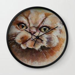 Art, oilpainting persian cat Wall Clock
