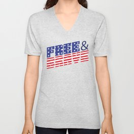 4th Of July Independence Day Free & Brave Unisex V-Neck