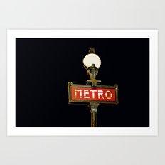 Metro - Paris Subway Sign Art Print