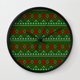 Knitted Christmas pattern red green 3 Wall Clock