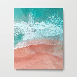 The Break - Turquoise Sea Pastel Pink Beach II Metal Print